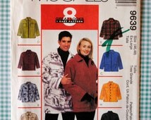 Uncut Easy Unisex Misses & Mens Front Button or Zipper Patch Pocket Side Slit Shirt Jacket Size XL Waist 46 48 Sewing Pattern McCalls 9639