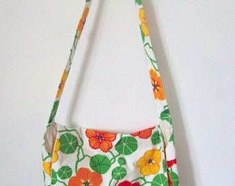 Messenger bag white flower cotton shoulder bag with front inside pockets