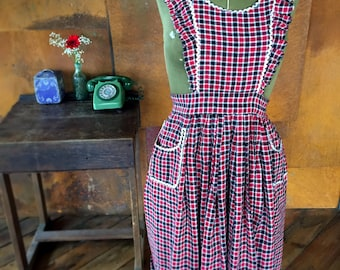 Womens Handmade Vintage Inspired Pinny Apron Red and Black checks One Size Fits UK 6-8-10-12