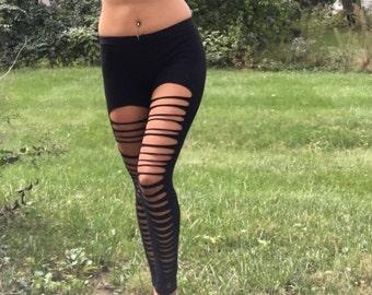 Cut out leggings / Yoga, Festival, Rave, Dance leggings - Black