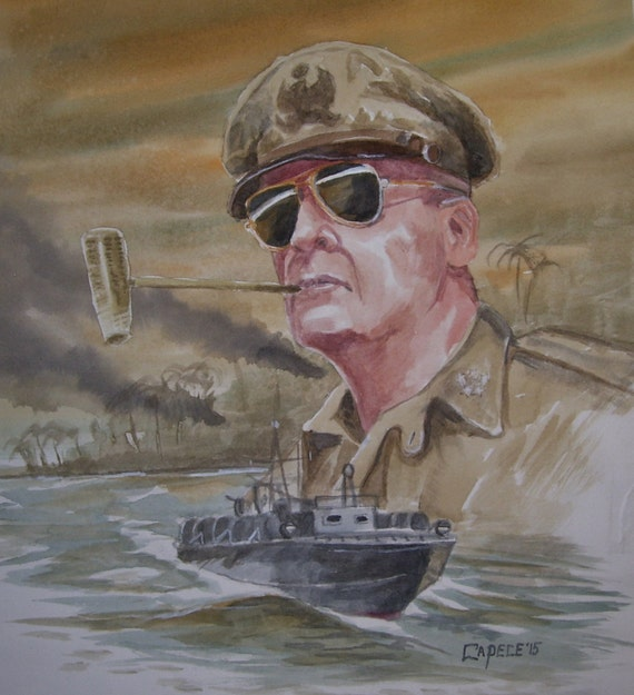 "General MacArthur,16""x20"" Watercolor,ONE OF A KIND,Not a Print, Free Shipping Code SKYE2"