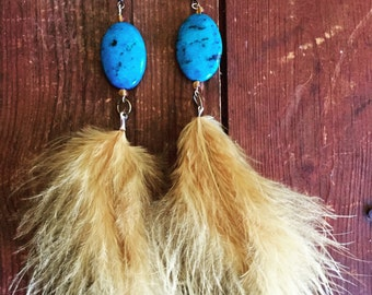 Beautiful golden yellow feather earrings with ocean blue stones