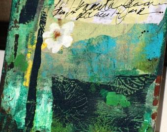 "Art Flower Mixed Media Art Original Acrylic Collage Art ""White Flower"" on Thin Linen Panel Canvas Panel Canvas"