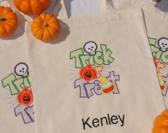 Personalized Light Weight Canvas Halloween Bag, Trick or Treat Bag