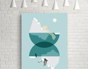 Art illustration, illustration print, North pole, south pole, blue and white, polar bear, penguin, snow, arctic art, contemporary art, print