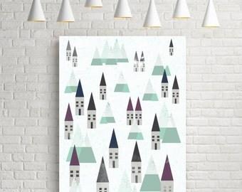 Winter, winter print, scandinavian design, winter decor, village, affiche, nordic print, winter landscape, winter art, snow, christmas art