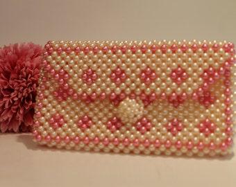 Vintage Pink and White Plastic Pearl Handbag Clutch Purse