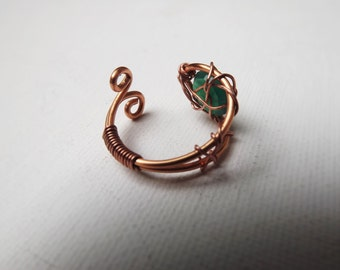 Green Onyx Whale Ring, The Mermaid's Ring, Wire Wrapped Crystal Ring