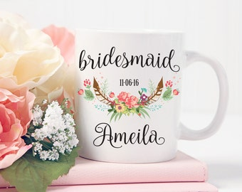 Bridesmaid Gift, Personalized Bridesmaid Coffee Mug, Custom Wedding Gift, Gift For Bridesmaid Personalized, Wedding Party Gift, Coffee Cup
