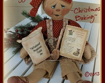 "Primitive cloth doll PATTERN ""Christmas Baking"" Gingerbread Raggedy"