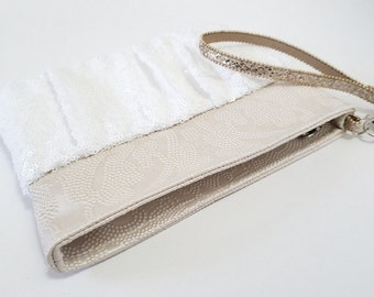 Blush Damask and White Sequin Wristlet - Blush faux leather, White Sequin, Matte Satin