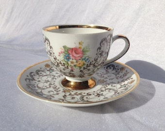 Bavaria Mitterteich Cup And Saucer Set Roses Gold Curls