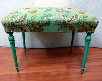 025 Upholstered bench with turquoise flowers fabric