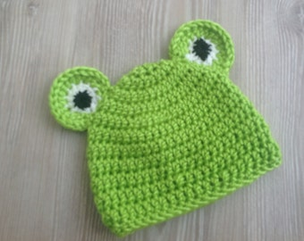 Baby Hat, Baby Crocheted Hat,Baby Frog Hat, Baby Photo Prop Hat, Shower Gift, Welcome Home Baby Gift