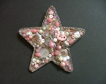 Pink and Silver Star, Jewellery Collage, Handmade gift