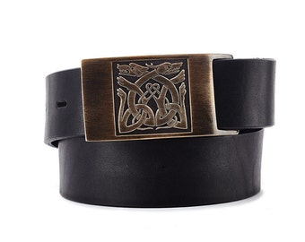 Dogs of War Belt Buckle with Black or Brown Leather Belt