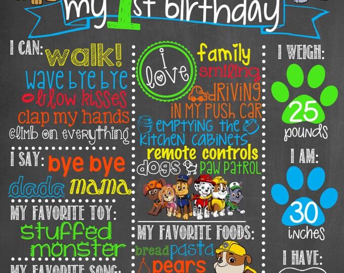 Paw Patrol Birthday Chalkboard / Dog Birthday Chalkboard / Paw Patrol Birthday Poster / Paw Patrol Dog Birthday Chalkboard / Digital File
