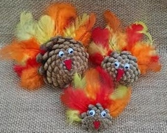 Set of 3 Fall Colored Pinecone Turkeys