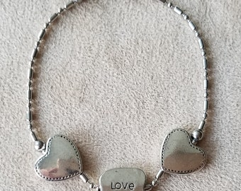Stainless Steel Bracelet with Heart & Love Charms