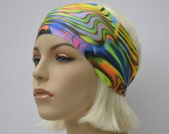 Tie Dyed Print Yoga Headband-Running Headband-Glow in the Dark Festival-Fitness Headband-Workout Headband-Costume Dance Head Wrap-Non Slip