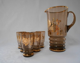 Vintage Smokey Glass Lemonade or Water Set with Five Glasses 1950's