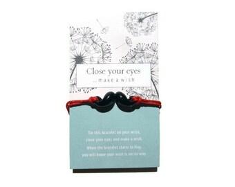 Mustache Charm Bracelet, Stocking Stuffer for her, Mustache Wish Bracelet, Mustache Friendship Bracelet, Mustache Anklet, Wish Bracelet