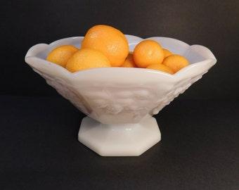 Vintage Milk Glass Pedestal Fruit Bowl, Cottage Charm, Wedding Serving, Milk Glass Bowl