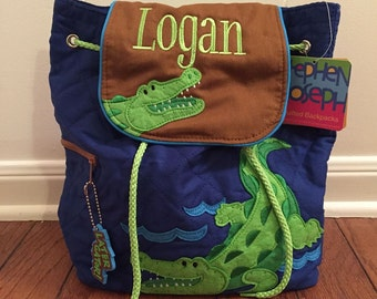 Personalized Stephen Joseph Quilted Backpack- Alligator