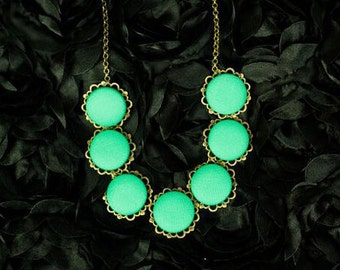 Jade and Bronze Covered Button Statement Necklace