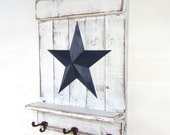 Distressed White Wood Shelf with Rustic Cast Iron Hooks and Blue Barn Star - Rustic, Primitive, Country Decor; Handmade, Hand Painted