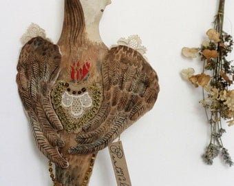 Fairytale Art Doll - Lovisa the Harpy- ooak textile art doll soft sculpture wall hanging