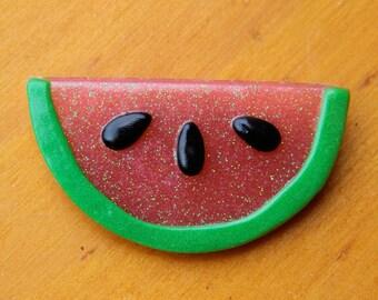 Reduced!  It's A Melon Glitter Resin Watermelon Brooch