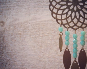 Brass earrings , faceted beads Turquoise