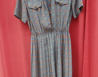 vintage LESLIE FAY Dresses Petite / Made in USA / us 12 / uk 14 / eu 42 red blue green pattern