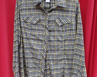 COLUMBIA western yellow black flannel shirt - women's fitted XL - pearl buttons