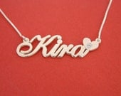 Name Necklace Silver Hearts Name Necklace Sympathy Gift Name Necklace With Name Plate Necklace Kira Necklace Gift Love Necklace For Her Gift