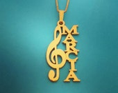 Clef Necklace Gold Plated Clef Nameplate Musical Necklace Musician Gift Music Lovers Gift Nameplate Necklace Gold Gift For Musician Note