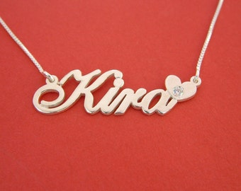 name necklace diamond necklace with name second anniversary gifts long distance girlfriend gift anniversary gift girlfriend nameplate