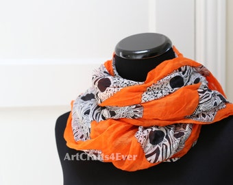 SUMMER SALE!!! Buy 2 Get 1 Free --- Day of the Dead Sugar Skull Wrinkled Scarf / Crinkled Scarf CW 0277-4