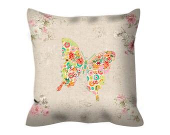 shabby chic pillow, butterfly pillow, nursery pillow, butterfly cushion, decorative throw pillow, shabby chic cushion, butterfly decor