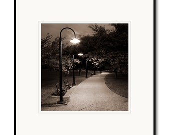 Washington DC, black and white photography, sepia prints, Potomac River, Roosevelt memorial park, DC, framed photo, tidal basin, night