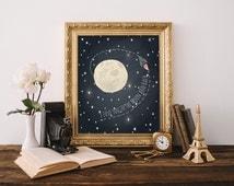 I love you to the moon and back Boy Room Wall Art Nursery Wall Art Galaxy Theme Wall Art Moon Art Kids Room Decor 8x10