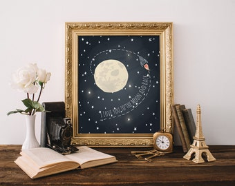 I love you to the moon and back Boy Room Wall Art Nursery Wall Art Galaxy Theme Wall Art Moon Art Kids Room Decor 8x10