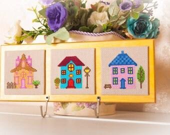 Key holder wall Home Decor Key rack embroidery cross stitch wall hooks handmade key organizer original gift key storage holder wall mount