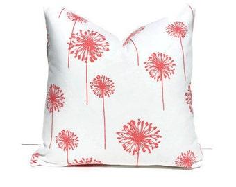 Coral Dandelion Nursery Pillow Cover, Coral Gold Nursery, Coral Gold Bedroom, Coral Dandelion modern floral nursery decor