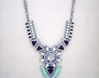 Mint green statement necklace, mint green necklace, green statement necklace, vintage jewelry, bohemian necklace, boho necklace, necklace