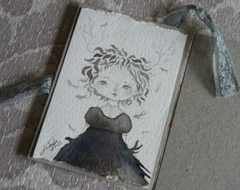Original ink illustration, girl and little fish