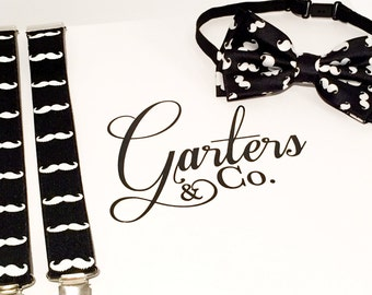 Black and White Mustache Bow Tie and Suspender Set