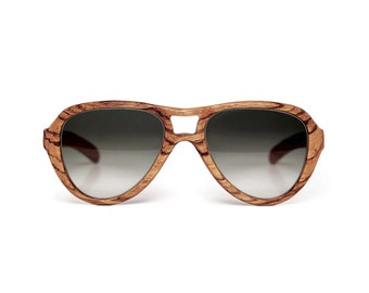Wooden Sunglasses zebrawood solid wood totally made in italy