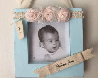 Personalized Baby Frame, Personalized Baby Girl Frame, Shabby Baby Frame, Baby Girl Frame, Shabby Frame